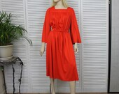 Vintage Red/Orange 1970s Dress by R&K Knits Large/X Large