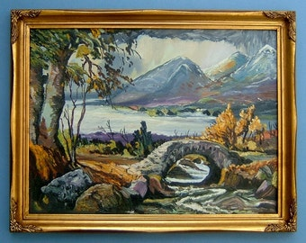 Abstract Painting of a River and Mountains Original Art Oil Landscape Wall Hangin Home Decor
