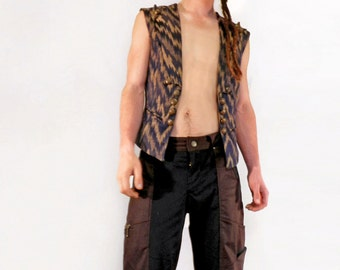 Men's Long Brown and Black Festival Shorts with Leather Trim
