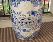 FREE SHIP Garden Stool Blue White Chinoiserie Porcelain Chinese Oriental