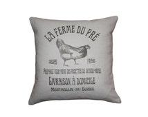 French Country  Vintage Linen Grain Sack Pillow - Chicken & Egg Farm