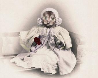 Millie, Cat Print, Anthropomorphic, Whimsical Art, Collage Art, Vintage Cat, Animal Print, Altered Photo, Nursery Art, Unusual Gift, Cats