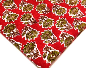 Block Print Cotton Fabric -  Indian Cotton Fabric in Coral and Olive Green - Border Fabric