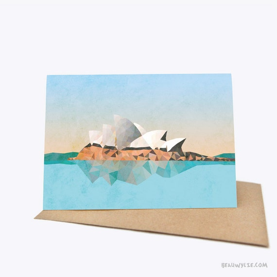 Sydney opera house greeting card sustainably by beauwylie