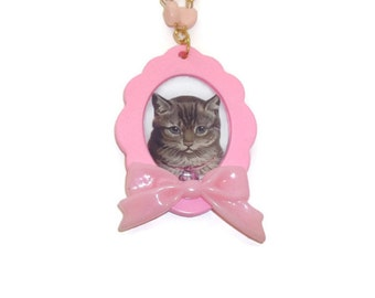 Pastel Cat Cameo Necklace, Kitsch Pastel Pink Heart Beads and Chain, Cute Kawaii Animal