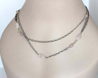 double layered rose quartz sterling silver necklace | layering necklace | modern handmade pink gemstone choker | artisan jewelry | girlthree
