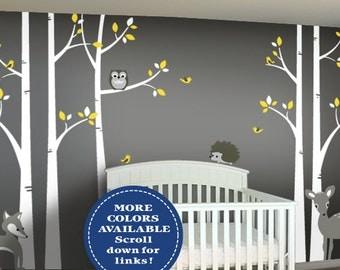 Woodland Nursery Decor - Birch Tree Wall Decal Set - Baby Nursery Wall Art - Fox, Hedgehog, Deer, Owl