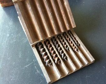 Old Antique Set of Six Auger Bits in Hinged Wooden Box