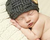 Baby Boys Hat / Basket Weave Hat / Newborn Photo Prop / Baby Shower Gift / Newborn Boy Hat / Newborn Boys Prop / Wood Button Hat / Wooden