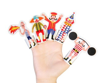 Circus Paper Finger Puppets - PRINTABLE PDF Toy - DIY Kit Paper Toy - Birthday Party Favor