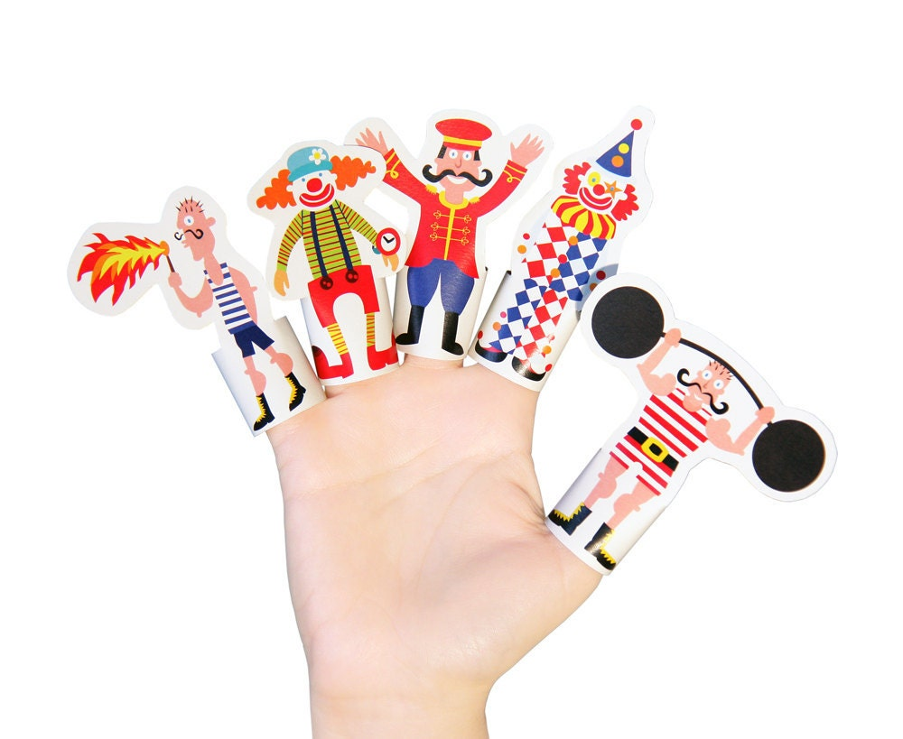 Circus Paper Finger Puppets PRINTABLE PDF Toy DIY Kit by pukaca