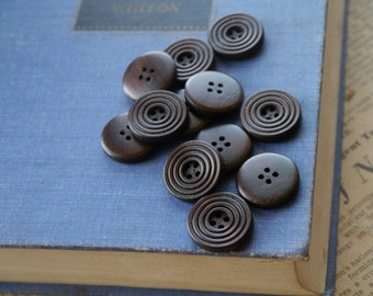 """20 pcs Dark Wood Grooved Buttons 20mm (6/8"""") (WB2157)"""
