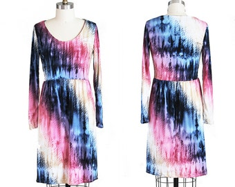 Tie Dye Dress in Rainbow Ombre Long Sleeves and Gathered Skirt