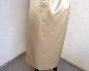 Vintage Classic evening wear SATIN beige mid length skirt sz 8