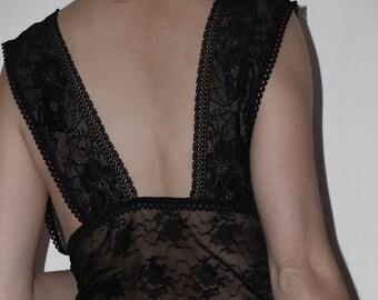 Fine black lace nightie  and leg in Angora