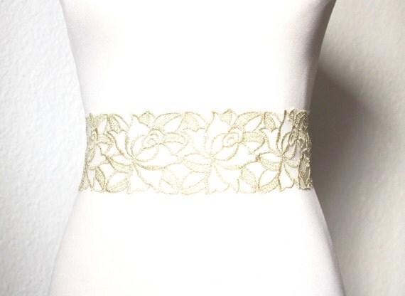 items similar to gold flower lace sash belt bridal