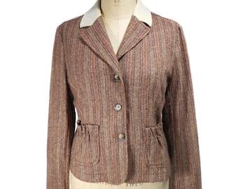 vintage ETRO tweed herringbone jacket / striped jacket / wool blend / elbow patches / women's vintage jacket / tag size 46