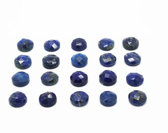 GCF-1076 - Lapis Lazuli Cabochon - 10mm Round - Faceted Cabochon - AA Quality - 1 Pc