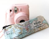 Map Pencil Case, Zipper Pouch, Small Cosmetic Bag sewed in retro map fabric. Blue World Map. Handmade Cute Pencilcase. WITH LINING