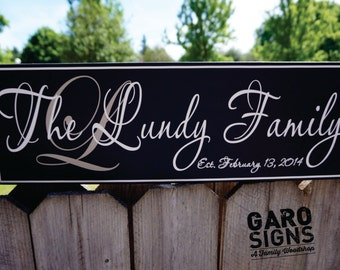 Family Est Sign Personalized Name Wood Sign Hand Painted Wedding Date Gift 22 x 7