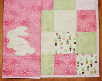 SALE Baby Girl Blanket Pink Cream Green Bunny Crib Cot Quilt Bedding Free Shipping Ready to Ship Feminine Nursery Homemade Modern Patchwork