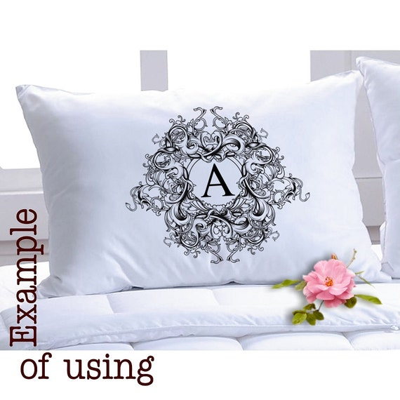 Idetible Personal MONOGRAM -  Large Single Image - Digital Sheet Printable to print on Fabric, Iron On Transfer for Tote t-shirts Pillows