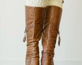 Knitted Boot Cuffs, Faux Leg Warmers, or Boot Toppers Knit and Wooden Working Buttons for Women Teens in Multi Ivory (BC-19)