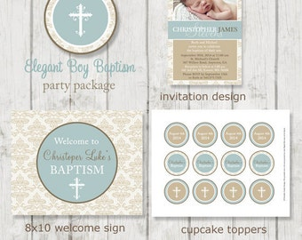 Elegant Boy Baptism Party Package - Boy Baptism - Printable Baptism Decor - Blue Baptism - Printable Christening - Blue Christening - DIY