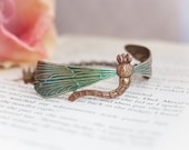 Outlander Jewelry Dragonfly Bracelet Natural Brass Cuff Bracelet Hand Painted 'Wild Dragonfly'