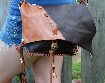 Hand Stitched Leather Purse or Cross Body Bag, Fringe, Hand Cut Feather, Beads & Button Closure, Boho Chic, Hippie Style, HoBo Style, Brown
