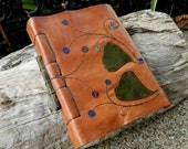 Leather Journal with Tiger Eye Recycled Cow Hide Ginko Leaf Diary Australian Handmade OOAK