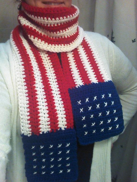 2 for 1: Star Spangled American Flag Scarf / Cowl Crochet