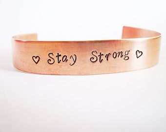 Personalized Cuff Bracelet, Copper Cuff Bracelet, Hand Stamped, men bracelet, Brass, Silver Aluminum, custom bracelet dad daddy, Stay Strong