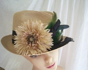 Vintage Upcycled Fedora, Ladies Womens Vintage Hat,  Vintage Straw Fedora