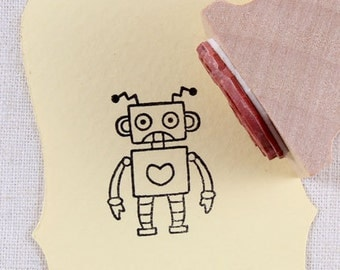 50% OFF SALE 30mm robot Rubber Stamp