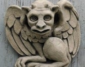 The Hypnotist gargoyle, wall art sculpture, Chicago Gothic, Halloween horror, carved stone casting, architectural detail, Richard Chalifour