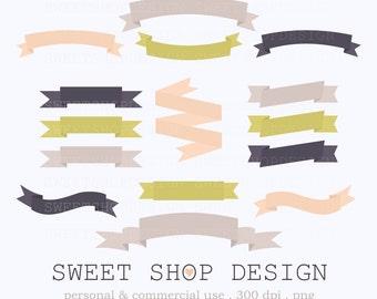Ribbon Clip Art, Banner Clip Art, Border Clip Art, Digital Clip Art, 32BPYLP, Instant Download