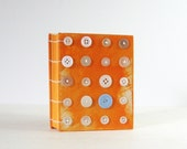 Button Pop Art Book - 240 Page Journal - Coptic Stitched Handmade Book - Orange Hardcover Book - Vintage Button Art - Mixed Media Art Book