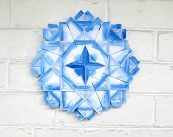 Blue and White Paper Wreath - Origami Sculpture - Indigo Blue Art - Painted Paper Art Wall Sculpture - Blue Crystal Decor Paper Anniversary