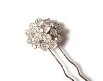 Rhinestone Hair Pin Upcycled Vintage Brooch Bride
