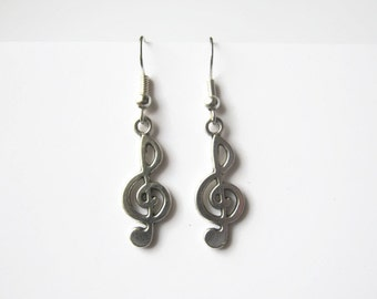 Treble Clef Earrings, Silver Music Earrings, Personalized Birthstone Earrings, Music Note Earrings, Musician Jewelry, Treble Clef Jewelry
