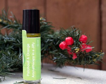 Aromatherapy roller, Patchouli & Orange Sweet, Green, Christmas inspired, holiday inspired, 10ml