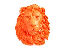 ORANGE LION Faux Taxidermy Large Lion Animal Head Wall Hanging Wall Decor home decor:  Leonard the Lion in bright orange