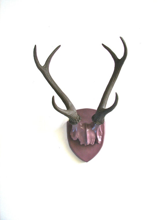 Faux Antler Plaque Wall Hanging Rustic Modern Wall Mount Wall