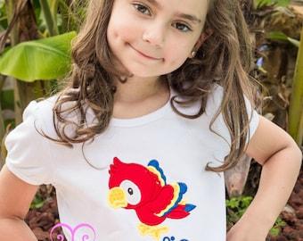 Parrot shirt and bow set- Parrot shirt- Girl Rio shirt- Bird Applique Shirt- Tropical Birthday shirt- Rio Birthday Shirt-