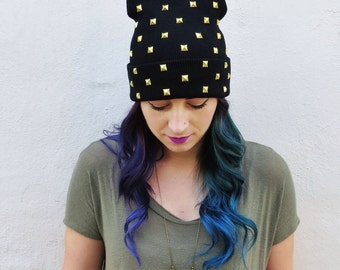 Studded Beanie - All Over Pyramid Studs - Black Beanie Hat