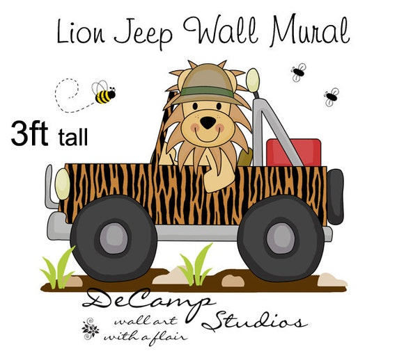Jungle lion jeep mural wall decals baby boy nursery kids for Baby jungle safari wall mural