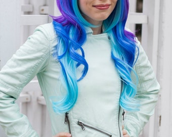 Neon Galaxy / Purple, Dark Clue and Aqua Blue / Long Curly Wavy Layered Wig Cosplay Costume Halloween Ombre