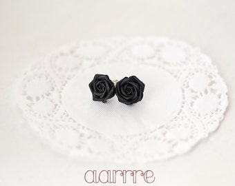 Hypoallergenic black rose studs with sterling silver 925 or titan contact part