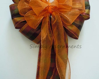 Fall Plaid Wedding Aisle Church Pew Bow Orange Brown Fall Autumn Wedding Bow Thanksgiving Wreath Bow Wedding Chair Bow